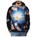 3D Astronaut Cat Pizza Printed Long Sleeve Hoodie