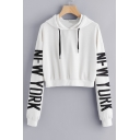 Letter Print Long Sleeve Cropped Casual Hoodie