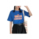 Chic THE HARLEM Letter Printed Round Neck Short Sleeve Tee