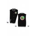 PLANET EXPRESS Letter Rocket Printed Color Block Contrast Striped Trim Button Front Baseball Jacket