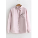 Cat Embroidered Chest Pocket Lapel Collar Long Sleeve Button Closure Shirt