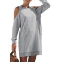 Plain Round Neck Cold Shoulder Long Sleeve Mini Shift Dress