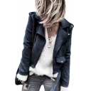 Suede Notched Lapel Collar Plain Open Front Long Sleeve Cropped Biker Jacket