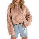 Half Zip Stand Collar Faux Fur Long Sleeve Plain Cropped Sweatshirt