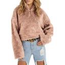 Half Zip Stand Collar Faux Fur Long Sleeve Plain Cropped Sweatshirt