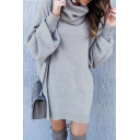 High Collar Lantern Sleeves Plain Mini Sweater Dress