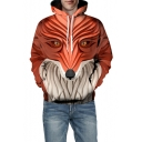 3D Fox Print Long Sleeve Hoodie for Couple