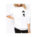 Leisure Pocket Cat Print Round Neck Long Sleeve Sweatshirt