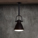Vintage Industrial Matte Black Finish 1 Light Mini Pendant Lamp with Metal Down Rod for Warehouse Coffee House