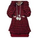 Pom Pom Embellished Drawstring Hood Plaid Long Sleeve Hoodie