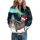 Fancy Cat Starry Sky Printed Long Sleeve Casual Hoodie