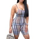 Chic Plaid Printed Spaghetti Straps Sleeveless Skinny Romper