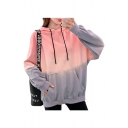 Ombre Eagle Letter Printed Back Long Sleeve Hoodie