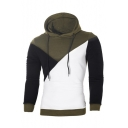 Color Block Ribbed Long Sleeve Slim Hoodie