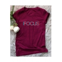 FOCUS Letter Printed Round Neck Short Sleeve T-Shirt