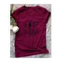 GO WHERE Letter Character Printed Round Neck Short Sleeve Graphic Tee