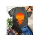 Sunset Printed Round Neck Short Sleeve T-Shirt