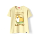 Lovely WUF YOU Letter Dog Printed Round Neck Short Sleeve T-Shirt