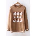 Hen Egg Pattern Contrast Striped Hem Raw Trim Round Neck Long Sleeve Knit Sweater