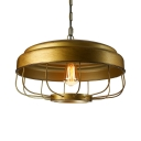 Bronze 1 Light LED Pendant Light with Metal Shade and Cage