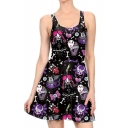 Cartoon Letter All Over Print Round Neck Sleeveless Mini A-Line Dress