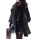 Plain Long Sleeve Concealed Drawstring Zip Placket Tunic Hooded Padded Coat