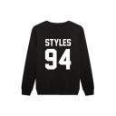 STYLES 94 Letter Print Round Neck Long Sleeve Sweatshirt