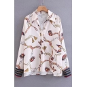 Baroque Style Butterfly Chain Print V Neck Long Sleeve Pullover Shirt