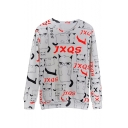Letter Cat All Over Print Round Neck Long Sleeve Pullover Sweatshirt