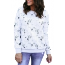 Cat All Over Pattern Round Neck Long Sleeve Woman Sweatshirt