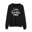 TINY HUMAN TAMER Letter Print Round Neck Long Sleeve Pullover Sweatshirt