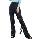 High Waist Contrast Stitching Straps Embellished Loose Pants