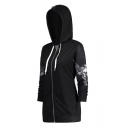 Wing Skull Printed Long Sleeve Zip Up Tunic Hoodie
