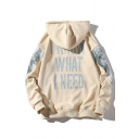 I KNOW WHAT I NEED Letter Color Block Long Sleeve Leisure Hoodie