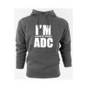 I'M ADC Letter Printed Long Sleeve Casual Hoodie