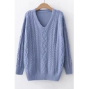 Knitting Twist V Neck Plain Long Sleeve Casual Sweater