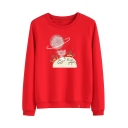 Cat Floral Letter Printed Round Neck Long Sleeve Pullover Sweatshirt