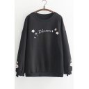 BLOSSOM Letter Floral Embroidered Round Neck Long Sleeve Sweatshirt