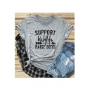 SUPPORT Letter Arrow Print Round Neck Short Sleeve Tee