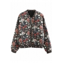 Floral All Over Printed Stand Up Collar Long Sleeve Zip Up Baseball Jacket