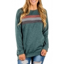 Contrast Striped Front Round Neck Long Sleeve Soft Sweatshirt