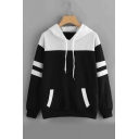 Color Block Contrast Striped Long Sleeve Hoodie with Kangaroo Pocket