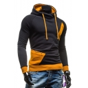 Color Block Long Sleeve Zipper Detail Slim Hoodie for Men