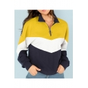 Half-Zip Stand Up Collar Color Block Long Sleeve Sweatshirt