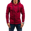 Plain Long Sleeve Offset Zip Closure Slim Hoodie for Men