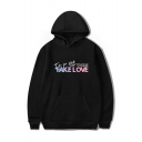 Cool FAKE LOVE Letter Print Long Sleeve Leisure Hoodie with Kangaroo Pocket