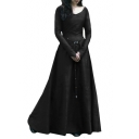 Vintage Elegant Round Neck Long Sleeve Slim Plain Maxi A-Line Dress