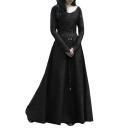 Vintage Elegant Round Neck Long Sleeve Slim Plain Maxi A-Line Dress