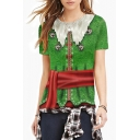 3D Christmas Series Color Block Bell Printed Round Neck Short Sleeve T-Shirt