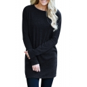 Round Neck Long Sleeve Plain Leisure Mini Knit Dress